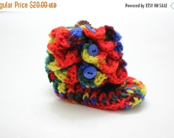 """Holiday Sales 10% Off Crocodile Stitch Booties - Handmade Crochet RAINBOW Baby Crocodile Baby Booties, Ready to be shipped TODAY / 4.5"""" long"""