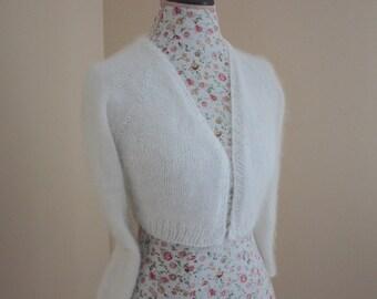 Ready to ship S Size/ Wedding Bolero 80% Angora rabbit hand knit from Filati Biagioli Modesto Italy / v-neck No buttons long sleeve Cropped