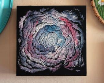 Abstract Vortex Mandala, Space art, Original Painting, Original Brush and Ink Drawing by Teddy Pancake, Visionary Art, Contemporary Art #7