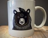 Bear and Hummingbird Ceramic Mug