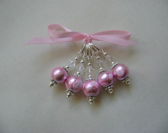 Pale Pink Art Glass Stitch Markers for Knitting or Crochet