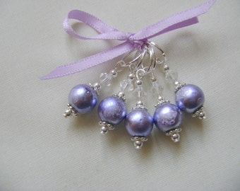 Lilac Haze Art Glass Stitch Markers for Knitting or Crochet
