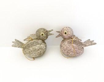 Pair Vintage Bird Ornaments Frankel Mica Glitter Silver Pink