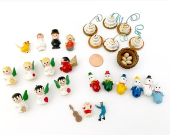 De-stash LOT Vintage Craft Supplies, Wooden Angels, Clowns, Snowman, Dollhouse Cakes, Bride Groom, Yellow Bird, Bird's Nest, Plastic Parts