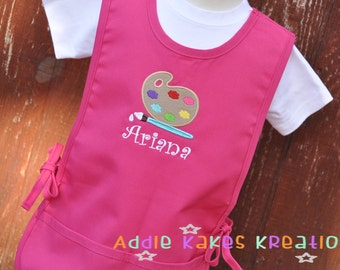 Personalized Art Smock - Paint Palette - Art Smock for Kids - Kids Cobbler Apron - Childrens Art Smock / Toddler Art Smock / Christmas Gift