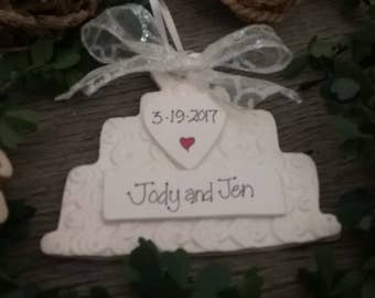 Wedding Cake Ornament, Personalized Package Topper, Personalized Wedding Gift, Wedding Shower Gift, Anniversary Gift, Gay Wedding Gift