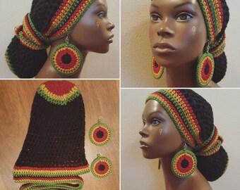 Black Earth Rasta Crochet Headwrap and Earrings