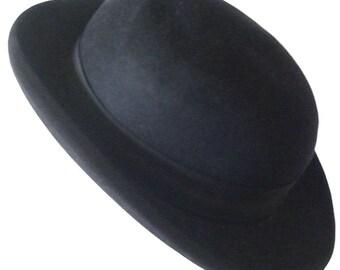 22 1/2 - Antique Vintage Black Fur Felt Men's Hat