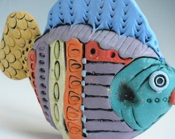 COLORFUL FISH, Ceramic Fish, Fish, Clay Fish, Porcelain Fish, Whimsical Fish, Fish Sculpture, Sea Creatures, Purple Fish, purple and blue