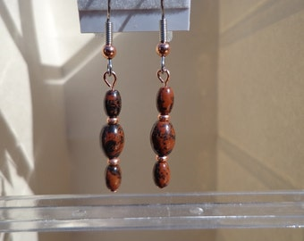 Mahogany Obsidian Earrings, Gemstone Beads with Bright Copper Beads, Hypoallergenic, Protection Stone, Healing Stone, Stress Relief Stone