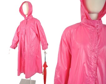 80s bright pink nylon hooded raincoat / wet look chin strap slicker jacket / 1980s rain coat.. SM/MD
