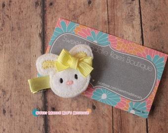 Girls Hair Clip--Bunny Feltie--Yellow