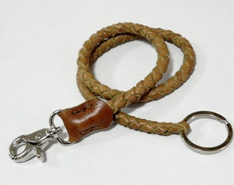 Rustic Brown Braid Leather Lanyard Leather Key Ring Leather key Lanyard with Metal Hook and Key Ring