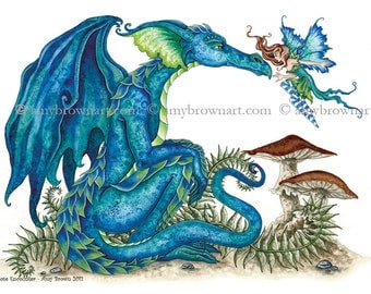 5x7 Close Encounter dragon and fairy PRINT by Amy Brown