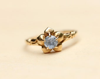 Flower Ring Gold, Aquamarine Flower Ring, Flower Ring, Aquamarine Gold RIng, Blue Flower Ring, Gold Daisy Ring, Gold Ring, Size 6 Ring