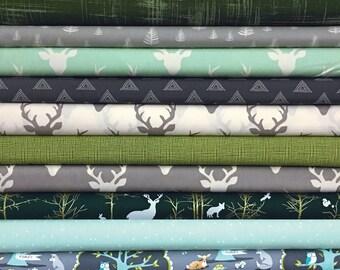 Choose 8,Fabrics, Unisex, Mint, Dark,Green, Grey,Gray, Baby, Boy, Customized, Bundle, Buck, Woodland, Modern, Rustic, FREE, SHIPPING, to, US