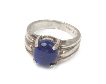 Lapis Glass Cabochon Sterling Modernist Ring Size 7
