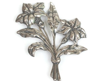 Danecraft Sterling Brooch Floral Design Vintage Signed