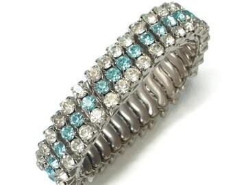 Turquoise and Clear Rhinestone Expansion Bracelet Vintage Stretch Bracelet