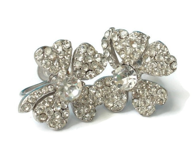 Rhinestone Four Leaf Clover Earrings Clear Stones Diamante Screw Back Vintage