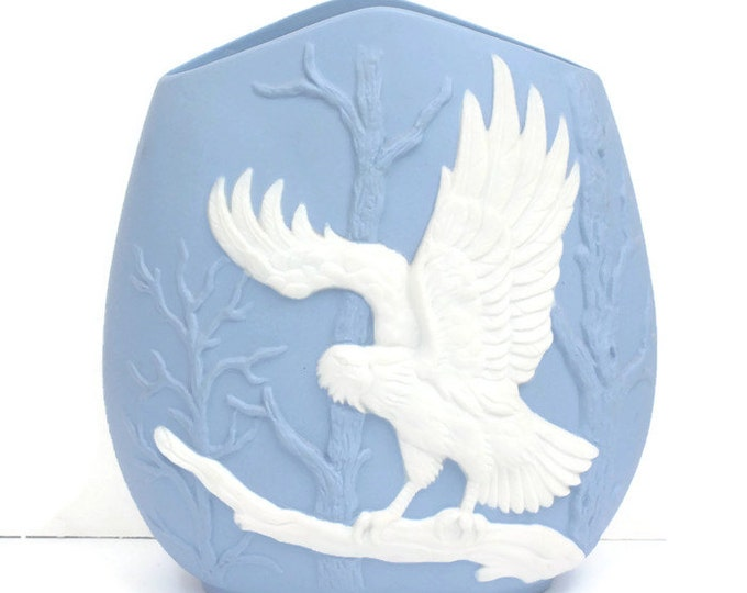 Blue and White Eagle Design Ceramic Vase Vintage