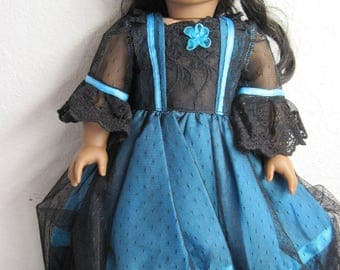 Blue and black Cotton silk blend PRINCESS GOWN.  Fits 18 inch dolls like American Girl