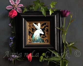 Framed original painting.  Titled 'Spiral Hare 1' by Amanda Clark.