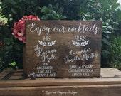 Signature Cocktails Sign - Wedding Drinks - Cocktails - Bartender Sign - Trust me You can dance - Calligraphy Lettering - RuSTic WeDDing