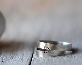 Heart Silver Lightweight Wedding Bands, two half heart rings, engagement, anniversary,wedding, friendship.