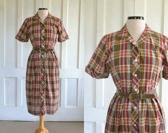 50s Day Dress Plaid Shirtdress - large