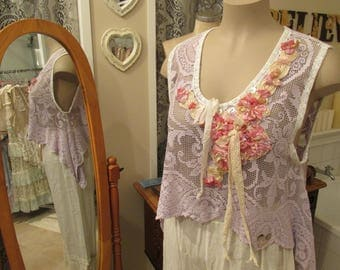 Vintage Kitty..hand dyed needle lace cropped tunic. dusky mauve.. shabby chic, mother of pearl, hand stitched floral applique.. large