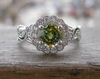 Unheated Green Montana Sapphire Engagement Ring in 14K White Gold with Diamonds in Flower Blossoms and Leafs on Vine Size 6.5