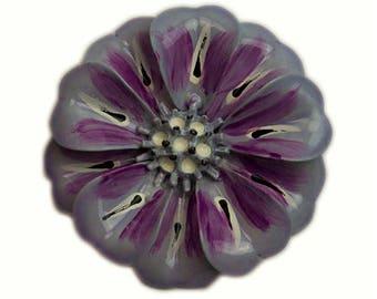 1960s Lavendar Purple Gray Black White Enameled Tahitian Flower Floral Vintage Pin Brooch