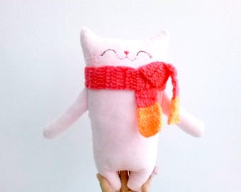 Toddler Toy Cat, Pink Stuffed Cat, Cat Softie, Stuffed Animal, Cat plush, Plush Cat, Doll Cat, cute plush - Gift for Girl