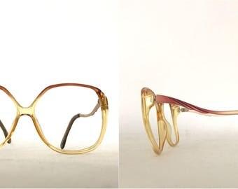 Vintage 70s 80s Big Mod Cat Eye Frame France NOS Ombre Glam Rock DIsco Eyeglasses Rose Petal Pink Yellow Color Supermodel Sunglasses