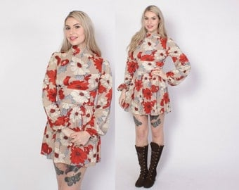 Vintage 60s Mini DRESS / 1960s Bold Floral Balloon Sleeve Micro Mini Dress XS