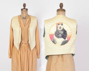 Vintage 70s PANDA VEST / 1970s Quilted Ivory Satin Vest with Hand Painted Panda Bear