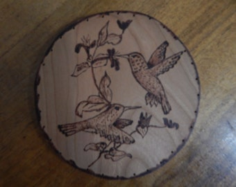Wood Burnt Image of 2 Humming Birds Basket Bottom or Other Craft Projects