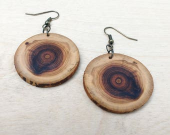 Salvaged Chokecherry Earrings, Natural Tree Slice Earrings, Boho Earrings, Spalted Wood Earrings