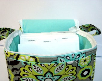 "6"" Size Coupon Organizer Fabric Coupon Organizer Tote  - With ZIPPER CLOSER Lime Floral with Aqua Lining"