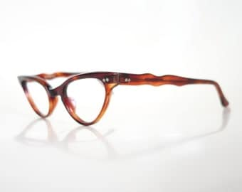 Vintage 1960s Cat Eye Tortoiseshell Eyeglasses Brown Amber Deadstock NOS New Old Stock 60s Sixties Pin Up Sexy Sixties Mid Century Mod