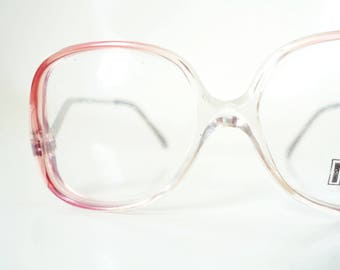 Vintage 1980s Girls Eyeglasses Kids Childrens Glasses Optical Frames Headstock Brand New NOS 80s Eighties Pink Cranberry Clear