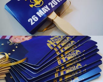 7x7 Square Rounded Corners USNA 2016 United States Naval Academy Double Sided Blue Red Commissioning Week Fan Mid Photo Wooden Paddles