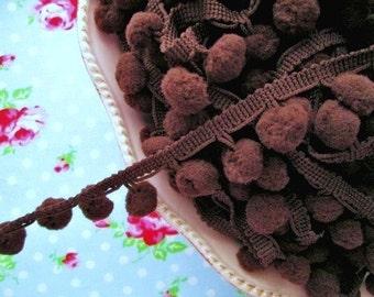 Pom Pom Trim - Chocolate Truffle Brown Dangling - 1/2 inch Ball Fringe - 2 Yards
