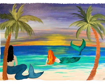 Coastal mermaids beach throw blanket from my original art.