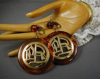 Asian Design Faux Tortoise Clip Hoop Earrings