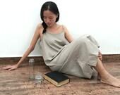 Linen Slip Dress/Spaghetti Strap Night Gown /Minimalist Midi Tunic Dress