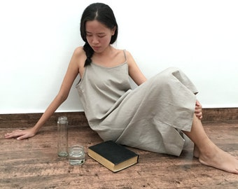 Linen Slip Dress/Spaghetti Strap Night Gown /Minimalist Midi Tunic Dress