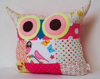 Patchwork owl pillow/ Aqua /pink/orange /children /soft toys/polyfil Stuffed  owl pillow/decoration cushion