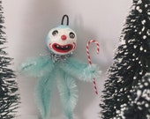 Blue Yeti Abominable Snowman Chenille Feather Tree Ornament